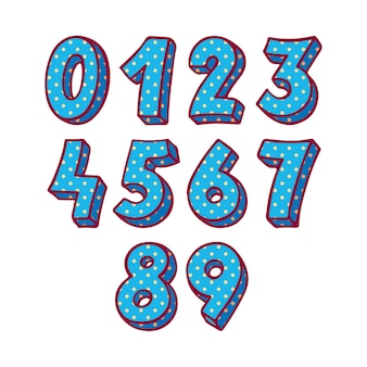 Set of blue vector numbers. hand-drawn illustration