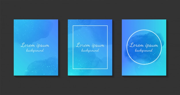 Set of blue watercolor background templates.