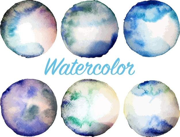 Set of blue watercolor circles