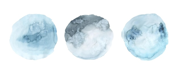 Set of blue watercolor paint stain background hand painted. abstract circle shape watercolor texture isolated on white background.