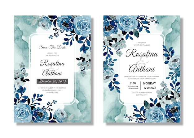 Set blue wedding invitation card with floral watercolor