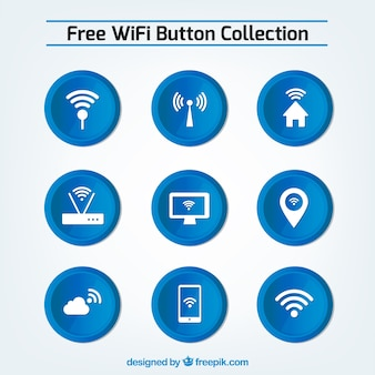 Set of blue wifi buttons