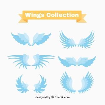 Set of blue wings logos