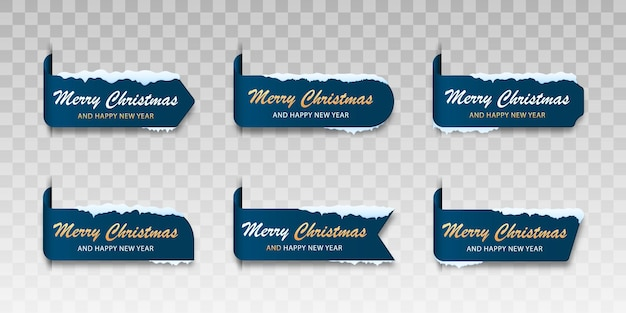 Set of blue winter cards merry christmas label for merry christmas with snow