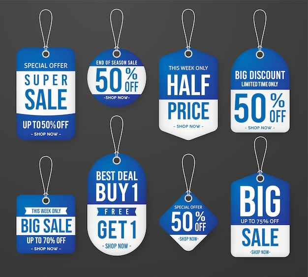 Set of blue winter sale price tag label template