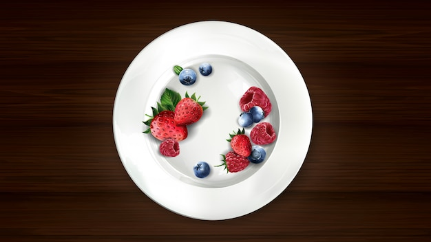 Set of blueberries, raspberries and strawberries on a white plate.
