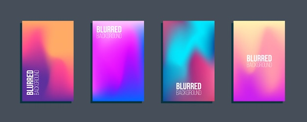 Set of blurred backgrounds.  abstract modern gradients
