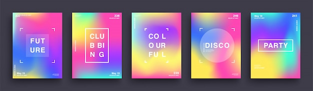 Set of blurred color gradient posters. summer clubbing bright party poster. covers template design. abstract gradient mesh background. trendy hipster holographic shapes.