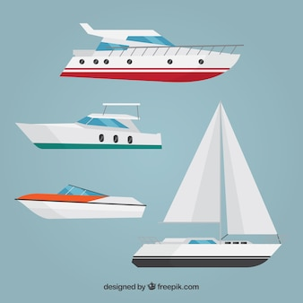 Set of boats in flat design