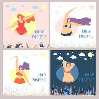 Set of body positive woman flat card template