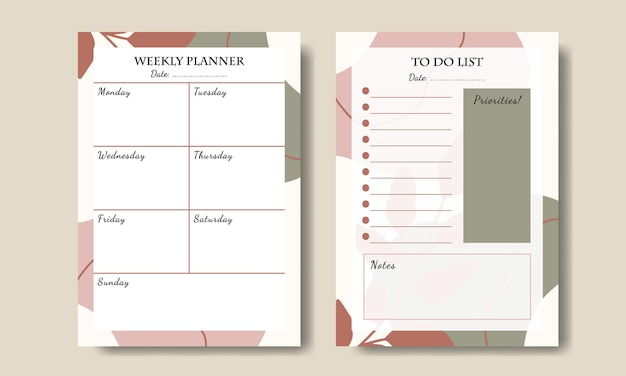 Set of boho abstract shapes and leaf weekly planner to do list printable