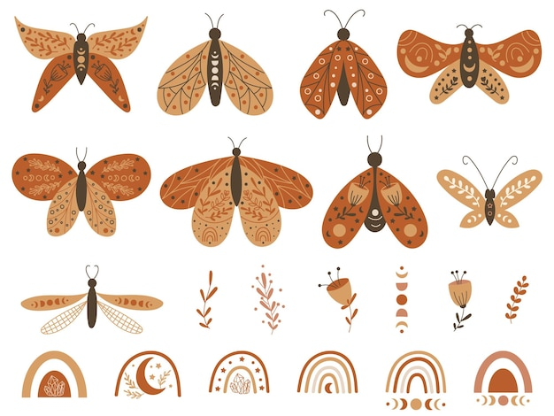Set of boho butterflies and rainbows. vector illustration.