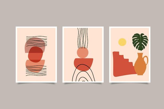 Set of boho contemporary wall art