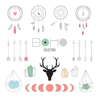 Set boho ethnic elements for design wedding card