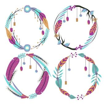 Set di cornici boho in design piatto
