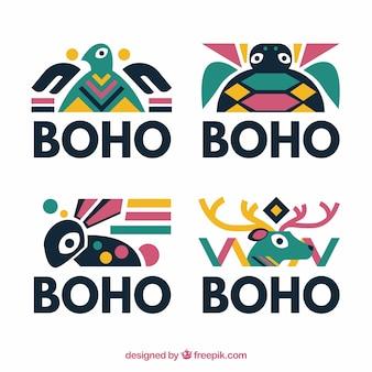 Set of boho logos with animals
