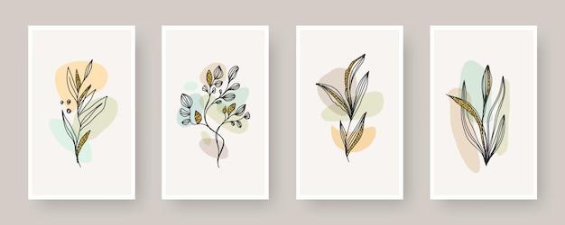 Set of boho style botanical design poster abstract shape and line art plant