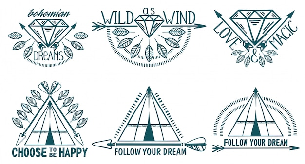 Set of boho style elements. feathers, arrows and wigwam.