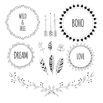 Set of boho style frames and hand drawn element