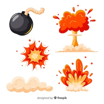 Set of bomb explosion effects