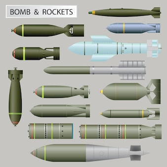 Set of bomb and rockets