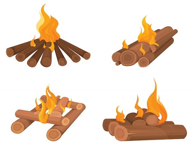 Set of bonfires in cartoon style. burning wood logs.