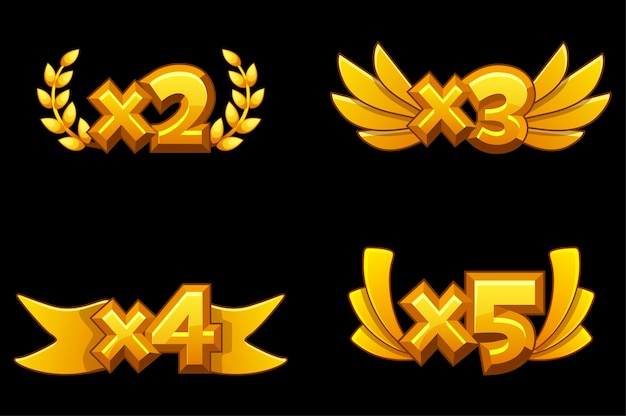 Set of bonuses of gold numbers with multiplication for the game.