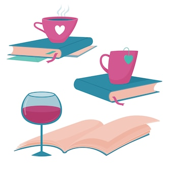 Set of book blog, reading club logo templates with books, glass of wine, cup of hot tea or coffee