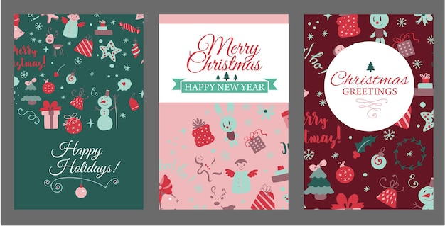 Set of booklet cover templates with christmas design elements in doodle style christmas cards vector