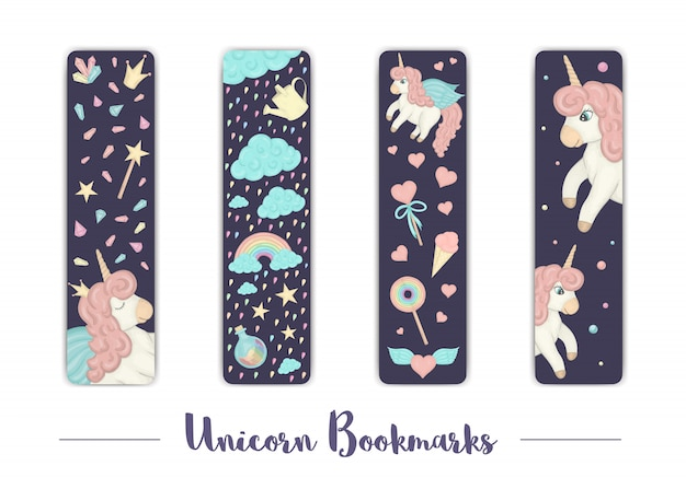 Set of bookmarks for children with unicorn theme.