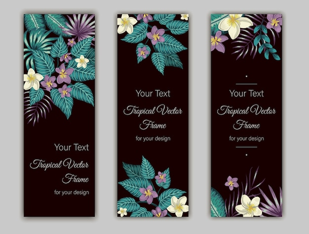 Set of bookmarks with green tropical leaves