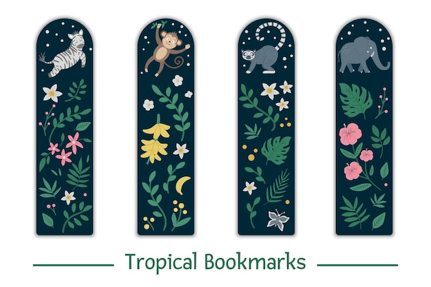 Set of bookmarks  with tropical animals, leaves, flowers. cute smiling zebra, monkey, lemur, elephant stationery for kids.