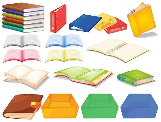 Set of books in different view