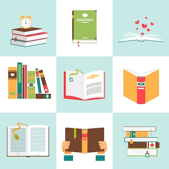 Set of books in flat design. literature and library, education and science, knowledge and study