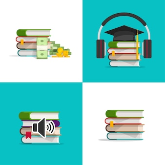 Set of books icons as concept of knowledge investment and audio textbook study learning