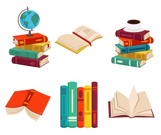 Set of books illustration with investigation stuff