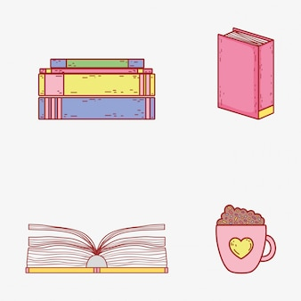 Set books information and coffee cup
