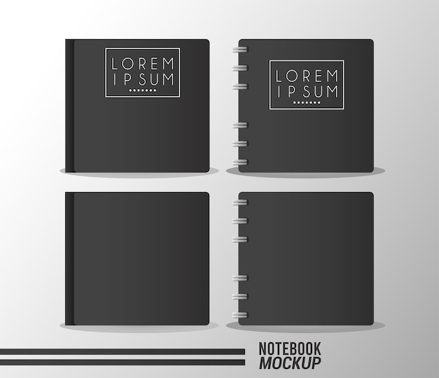 Set of books and notebooks mockup color black.