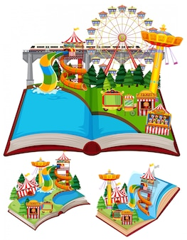 Set of books with many rides in the circus