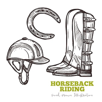 Set of boots of rider and horseshoe sketch