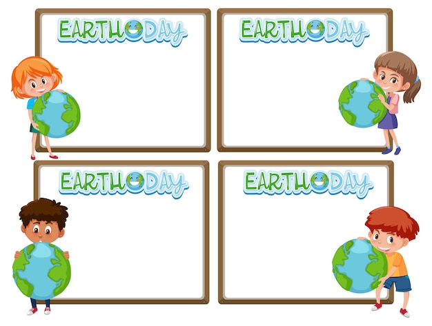 Set of border frame template with earth day theme