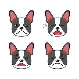 Set of boston terrier dog faces showing different emotions