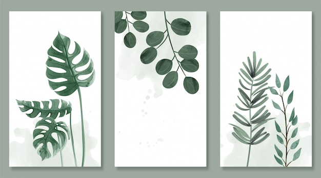 Set of botanic and wild leaves in watercolor painting. design for frame hanging, poster, and card.