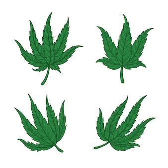 Set of botanical cannabis leaves