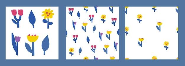 Set of botanical elements in scandinavian style for design
