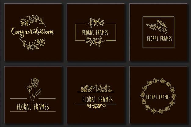 Set botanical frame element design vector