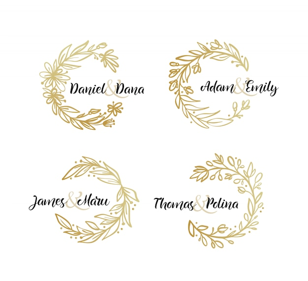 Set of botanical leaves gold wreath wedding invitation template.