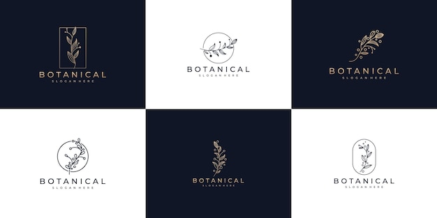 Set of botanical line art and nature logo design