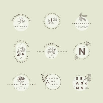 Set of botanical logo design vectors