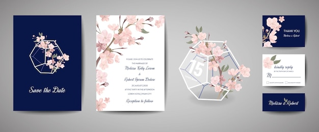 Set of botanical retro wedding invitation card, vintage save the date, template design of sakura flowers and leaves, cherry blossom illustration. vector trendy cover, pastel graphic poster, brochure